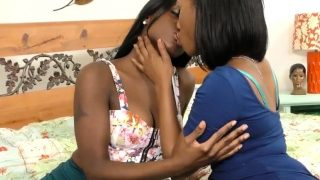 Delicious booty lesbian ebony babes lick each other's tits